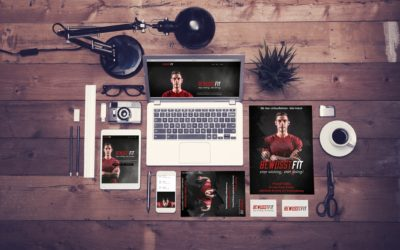 Top view office corporate design mockup template on wooden background